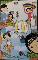 4 Mobilecards Thailand - 12Call - Comic - Kinder - Vogel - Heißluftballon - Thaïland