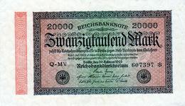 Billet Allemand De 20000 Mark Le 20 Février 1923  - En T T B + -N° 607397 - 20000 Mark