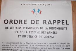 """Affiche Originale - French Army Original Poster """"ORDRE DE RAPPEL"""" - Modèle 12 - Documents"""