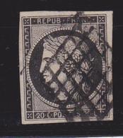France Timbre Cérès YT N°3 Beau Quadrillage Recto Verso - 1849-1850 Cérès