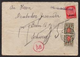 "SELESTAT - ALSACE / 1940 CACHET LINEAIRE ""SCHLETTSTADT BAHNHOF"" SUR LETTRE TAXEE EN SUISSE (ref LE2799) - Elsass-Lothringen"