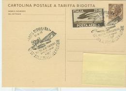 MOSTRA  AEROFILATELICA  - CERVIA 1973 - ANNULLO SPECIALE FIGURATO  SU CARTOLINA POSTALE TARIFFA RIDOTTA,CRAL SALINE DI C - Aerei