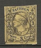 SAXE - Yv. N° 10 Mi N°11   (o)  3 N Jaune Frédéric-Auguste II Cote  8 Euro  BE   2 Scans - Saxe