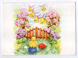 Joyeuses Pâques -- 1955--- Carte De Type Pop-Up (poussins,oeufs,cloches,fleurs ) - Pâques