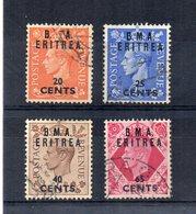Inghilterra 1948/49  - Colonie - Lotto 4 Francobolli Sovrastampati B.M.A. Eritrea - Usati - (FDC15753) - Usati