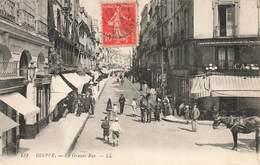 § 76 Dieppe La Grande Rue Cpa Carte Animée  Cachet 1916 - Dieppe