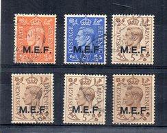 Gran Bretagna - 1942 - Colonie - Lotto 6 Francobolli Sovrastampati M.E.F. (Middle East Forces) - Usati - (FDC15754) - Usati