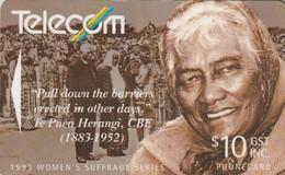 TARJETA TELEFONICA DE NUEVA ZELANDA, 1993 Women's Suffrage. Te Puea Herangi. G-068. (051) - Neuseeland