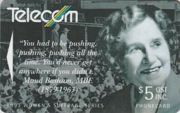 TARJETA TELEFONICA DE NUEVA ZELANDA, 1993 Women's Suffrage. Maud Basham. G-066. (052) - Nueva Zelanda