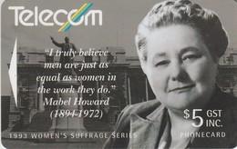 TARJETA TELEFONICA DE NUEVA ZELANDA, 1993 Women's Suffrage. Mabel Howard. G-067. (053) - Neuseeland