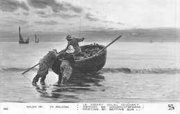 PIE-T.bl -19-6589 : SALON DE PARIS 1911.  LE DEPART SOLEIL COUCHANT. BARQUE DE PECHEUR. PAR CH. ROUSSEL. BRETAGNE ? - Pintura & Cuadros