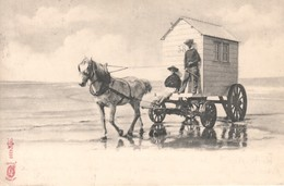 CPA De Boulogne Sur Mer (Pas De Calais) Cabine De Bains Attelée. Edition KF Pars. Dos Simple. Circulée En 1904. - Boulogne Sur Mer
