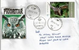 Le Hibou Grand-duc, Belle Lettre 2019 Adressée Andorra, Avec Timbre à Date Arrivée - Owls
