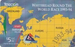 TARJETA TELEFONICA DE NUEVA ZELANDA, MAPAS. Whitbread Round The World Race 1/4. G-078. (063) - Nueva Zelanda