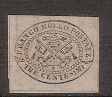 (Fb).A.Stati.Pontificio.1867.-3c Grigio Non Dentellato Nuovo Con Gomma Integra Colorata,carta Lucida (7-17) - Etats Pontificaux
