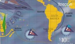 TARJETA TELEFONICA DE NUEVA ZELANDA, MAPAS. Whitbread Round The World Race 4/4. G-080. (064) - Nueva Zelanda