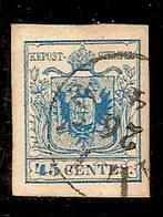 (Fb).A.Stati.Lombardo-Veneto.1855.-45c Azzurro III° Tipo Usato,splendido,fresco E Con Margini Ampi E Perfetti (388-15) - Lombardo-Vénétie