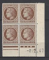CD 681 FRANCE 1947 COIN DATE 681 : 8 / 2 / 47 TYPE CERES DE MAZELIN DATE REPETE DANS LA MARGE - 1940-1949