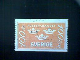 Sweden (Sverige), Scott #1483, Used (o), 1984, Postal Savings, Three Crowns, 100ö, Orange - Used Stamps