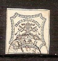 (Fb).A.Stati.Pontificio.1852.-8 Baj Bianco Usato Firmato (614-16) - Stato Pontificio