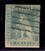 (Fb).A.Stati.Toscana.1851-52.-2 Crazie Azzurro Verdastro Su Grigio Usato (42-16) - Toscana