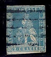 (Fb).A.Stati.Toscana.1851-52.-2 Crazie Azzurro Su Grigio Usato.Annullo Muto (44-16) - Toscana
