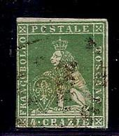 (Fb).A.Stati.Toscana.1851-52.- 4 Crazie Verde Su Grigio Usato  (43-16) - Toscana
