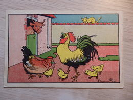 """Illustrateur: Rabier Benjamin - Pub: """"Nourritures Fichefet à Fleurus - Coq, Poule, Vache, Poussin, Chat - Voir 2 Scans. - Rabier, B."""