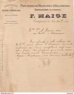 PAPETERIES DE NEUFFONDS ET VALLOND'EAU F.MAIGE À CASTELJALOUX       .......... CORRESPONDANCE COMMERCIALE DE 1918 - Imprimerie & Papeterie