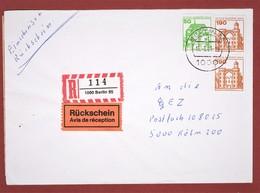 Brief Einschreiben Rückschein 430 Pf Porto Berlin - Köln - Berlin (West)