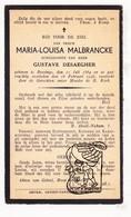 DP Maria L. Malbrancke ° Boezinge Ieper 1864 † 1938 X Gustave Desaegher - Andachtsbilder