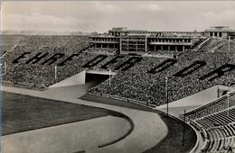 1956 ALEMANIA , TARJETA POSTAL CIRCULADA, LEIPZIG - STADION DER 100.000 , OSTTRIBÜNE - Estadios