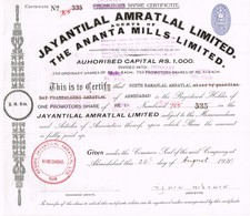 Titre  Ancien - Jayantilal Amratlal Limited - Agent Of The Ananta Mills Limited -Titre De 1930 - Industrie