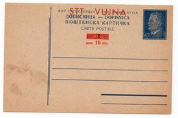 1952, YUGOSLAVIA, ITALY, SLOVENIA, STT-VUJNA, POSTAL STATIONARY, NOT USED - Postal Stationery