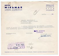 1958 YUGOSLAVIA, CROATIA, LOVRAN, HOTEL MIRAMAR, LETTERHEAD - Yugoslavia
