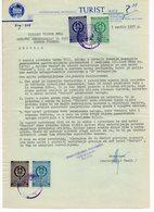 1957 YUGOSLAVIA, BOSNIA, JAJCE, HOTEL TURIST, LETTERHEAD, 4 FISKAL STAMPS - Yugoslavia