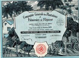 Ancien Titre - Compagnie Générale Des Plantations Et Palmeraies De L' Ogooué - Titre De 1928 - Déco - Afrika