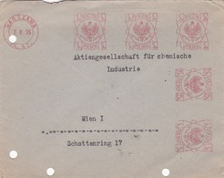 ENVELOPE POLAND POLSKA YEAR 1935 AFFRANCHISSEMENT MECHANIQUE CIRCULEE A WIEN FUR CHEMISCHE INDUSTRIE - BLEUP - 1919-1939 Republic