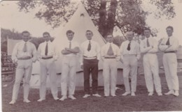 GROUP OF MEN OUTSIDE TENT - Postcards