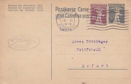 ENTIER ENTERO HELVETIA CIRCULEE YEAR 1919 AUSSERSIHL TO ERFURT -BLEUP - Interi Postali