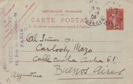 ENTIER ENTERO FRANCE 10c CIRCULEE YEAR 1909 TO BUENOS AIRES - BLEUP - Postales Tipos Y (antes De 1995)
