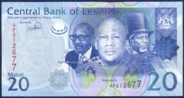 SWAZILAND 20 MALOTI P-22b THREE KINGS BASOTHO HUTS 2013 UNC - Lesotho