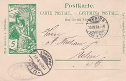 ENTIER ENTERO JUBILE DE L'UNION POSTALE UNIVERSALEE SUISSE CIRCULEE YEAR 1900  - BLEUP - Interi Postali
