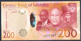 SWAZILAND 200 MALOTI P-25 THREE KINGS MAN ON HORSEBACK HORSE 2015 UNC - Lesotho