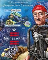 Guinea Bissau 2015 Jacques Yves Cousteau,  Diving  Monacophil 2015 - Guinea-Bissau
