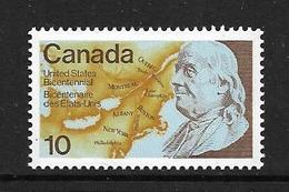 CANADA 1976 INDEPENDANCE USA-BENJAMIN FRANKLIN  YVERT N°603 NEUF MNH** - 1952-.... Regno Di Elizabeth II