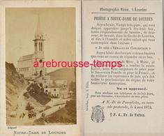 CDV Notre Dame De Lourdes En 1872-Prière-Tournée Pastorale De N. D Poueylaün-photo Viron-TB état - Lieux