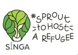 CP Refugié - Sprout To Host A Refugee,  Accueillez Un Réfugié à La Maison - Chou De Bruxelles - Cartes Postales