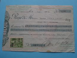 Reçu > SMASHING TENNIS CLUB Anvers / ANTWERPEN > Reçu De NEYRICKX > 31 July 1930 ( Zie / Voir Photo ) ! - Lettres De Change