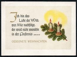 C5991 - Glückwunschkarte Weihnachten - Spruchkarte Tannenzweig Kerze - Schäfer Verlag Plauen DDR - Christianisme